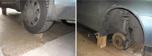 При использовании домкрата для повышения устойчивости автомобиля подставьте под пороги рядом с домкратом дополнительные упоры («страховка» домкрата)